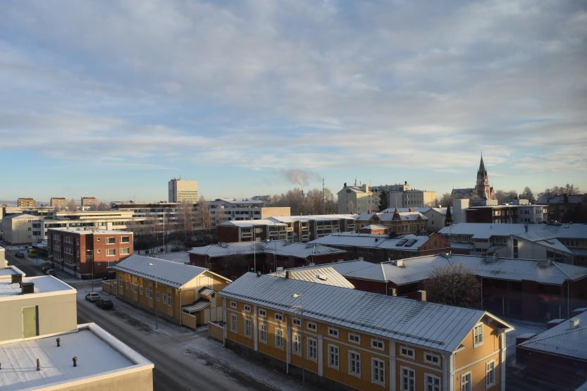 Kemin kaupunkia Länsi-Pohjan keskussairaalasta kuvattuna. Kuvituskuva.